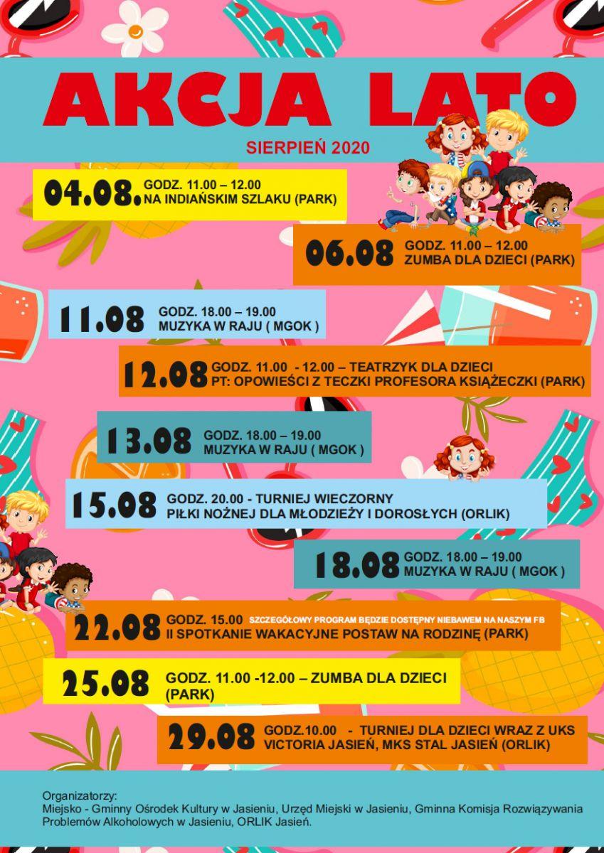 to jest plakat program wakacyjny sierpień z MGOK